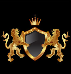 lions protecting emblem shield icon vector image