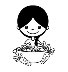 little girl with carrots on bowl vector image