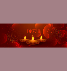 Lovely happy diwali banner with three diya lamps vector
