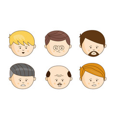 male faces showing different emotions set face vector image
