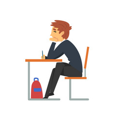 male student sitting at desk in classroom with vector image