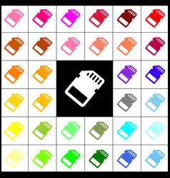 Memory card sign felt-pen 33 colorful vector