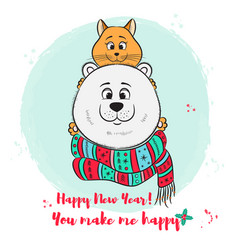 merry christmas new year greeting card with cute vector image