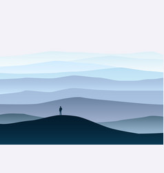 minimalistic mountain landscape lonely explorer vector image