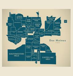 Modern city map - des moines iowa city usa vector