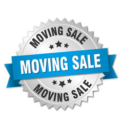 Moving sale round isolated silver badge vector