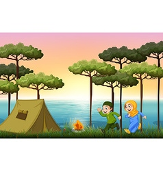 Muslim couple camping in the woods vector