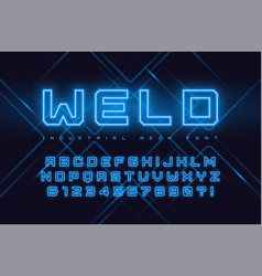 neon industrial style display typeface vector image