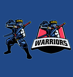 Ninja warrior mascot stance pose vector