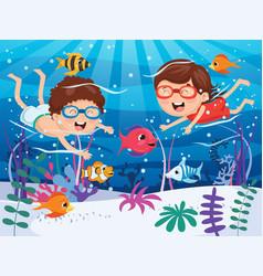 of kids swimming underwater vector image