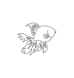 One continuous line drawing cute goldfish vector