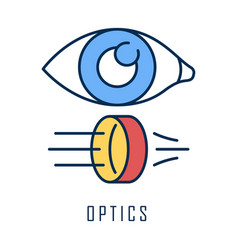 Optics color icon light physics branch optometry vector
