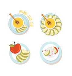 plate set with sliced apples and honey for jewish vector image
