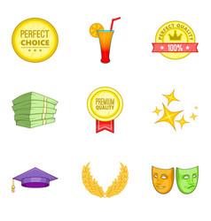 premium quality icons set cartoon style vector image