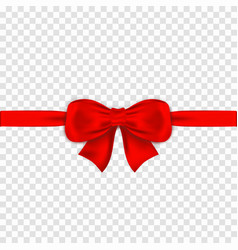 red bow with ribbons on transparent background vector image