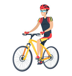 riding man with smile and bike vector image