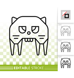 robot cat simple black line icon vector image