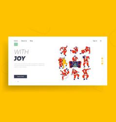santa claus and reindeer dancing landing page vector image