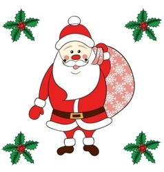 Santa claus carrying sack vector
