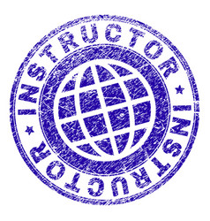 Scratched textured instructor stamp seal vector