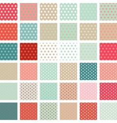 Seamless abstract retro pattern Set of 36 polka vector image