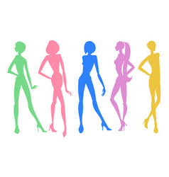 set of young girls silhouettes posing in different vector image vector image