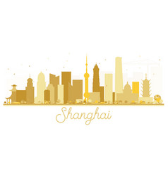 Shanghai china city skyline golden silhouette vector