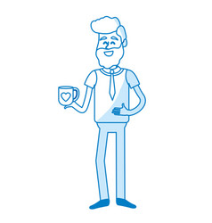 Silhouette man with coffee cup in his hand and vector