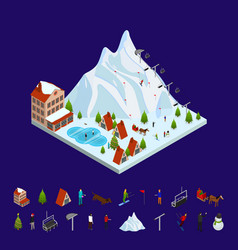 Ski resort concept and elements 3d isometric view vector