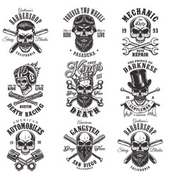 Skull monochrome emblems vector