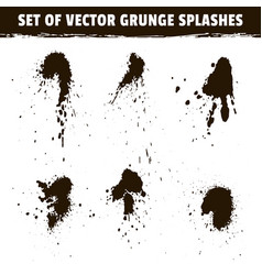 Spray ink blots collection and grunge splashes vector