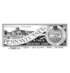 state banner pennsylvania keystone vector image