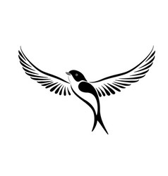 stylized swallow in black and vector image