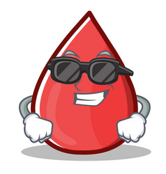 Super cool blood drop cartoon mascot character vector