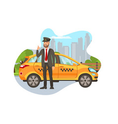 Taxi driver with car isolated cartoon character vector
