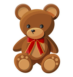 teddy bear with bow bear plush toy vector image