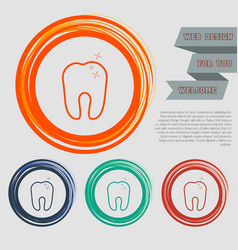 Tooth icon on red blue green orange buttons vector