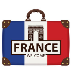 travel bag with french flag and triumphal arch vector image