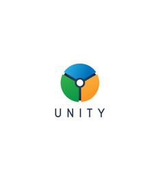 Unity shape connecting cercle logo design vector