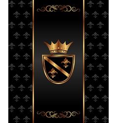 vintage dark golden card with heraldic elements vector image