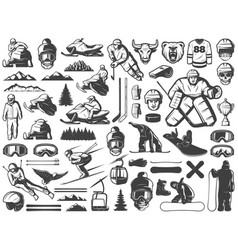 vintage winter sport games icons collection vector image