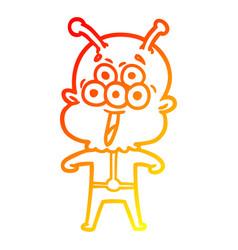 Warm gradient line drawing happy cartoon alien vector