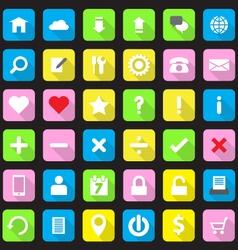 web icon set flat style on round rectangle vector image