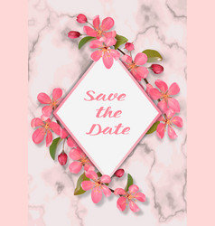 wedding invitation template with pink cherry vector image