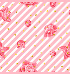 Wedding seamless pattern background with roses and vector
