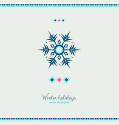 winter grunge colorful ornate shape ice snowflake vector image