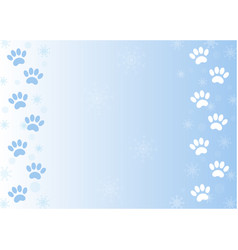 Winter paw prints in the snow background vector