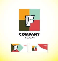 Alphabet letter F vintage strong colors logo icon vector image