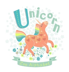 Letter U - Unicorn vector image vector image