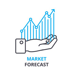 market forecast concept outline icon linear vector image vector image